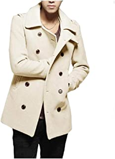 Howely Men's Fit Woolen Fall Winter Cardigan Double Breasted Duffle Coat