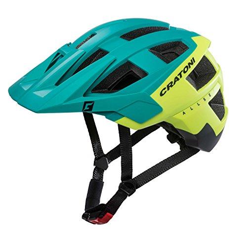 Cratoni Kinder AllSet Fahrradhelm, Green/Yellow/Black Matt, M-L