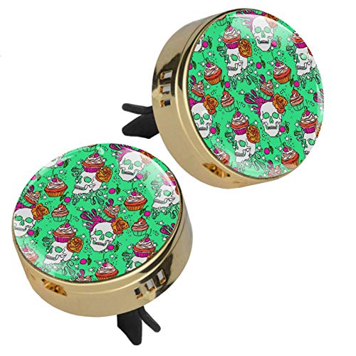 TIKISMILE Zinc Alloy Golden Car Aromatherapy Essential Oil Diffuser Skull And Cupcake Air Freshener Vent Clip with rubber cover 2 PCS (4 Refill Pads)