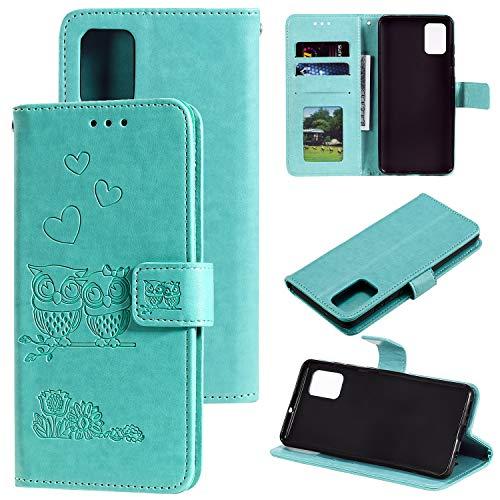 ZTOFERA Flip Hülle für Samsung Galaxy A71, Süße Eule und Herz Muster Brieftasche mit [Magnetverschluss] [Kartenfächer] [Ständer] [Handschlaufe], Slim Handyhülle für Samsung A71 - Minzgrün