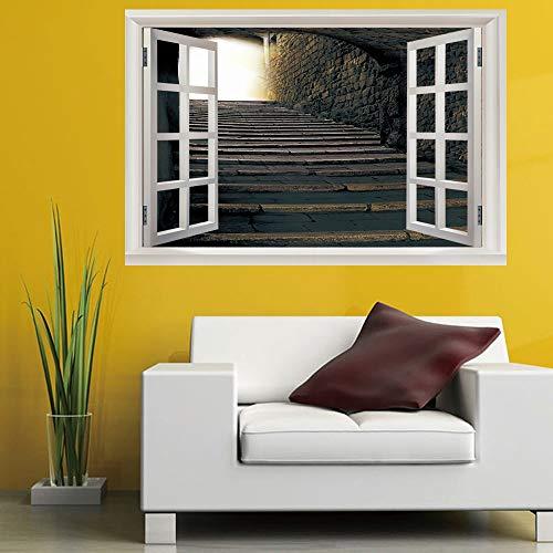 WYLYSD Escaleras de pizarra europea 3D ventana falsa dormitorio sala de niños decoración de fondo de oficina Paisaje de PVC pegatinas de pared (50X70cm)