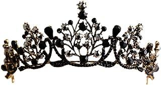 Minkissy - Corona barocca in stile gotico retrò, con strass, colore nero, da principessa e regina, per cosplay, feste, Hal...