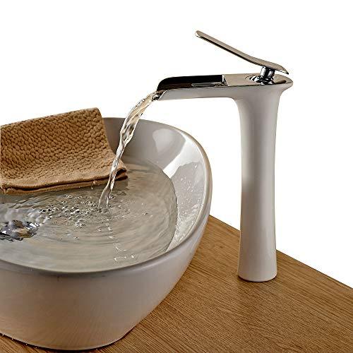 Beelee Grifo de Lavabo Monomando Cascada, Agua Fria y Caliente Disponible Grifo de Cuenca para Baño, Pintura blanca y cromo