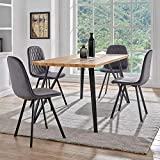 DecoInParis Ensemble Table à Manger + 4 chaises Kevan en Tissu (Gris)