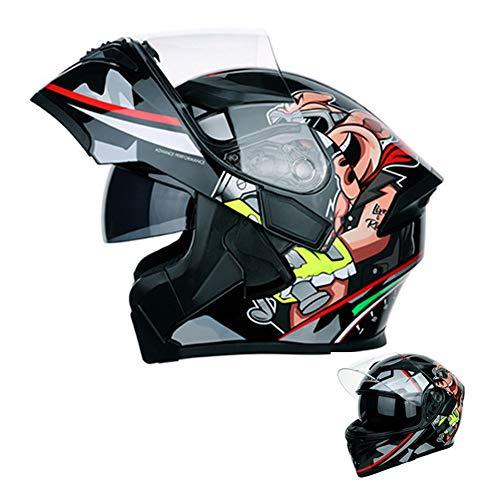 Motorradhelm,Adult Integralhelm Fullface Klapphelm Motorrad Roller Sturz Helm für alle Jahreszeiten, Crosshelm mit Sonnenblende für Downhill Helm mit Hochauflösende Antibeschlaglinsen,Rot,XL