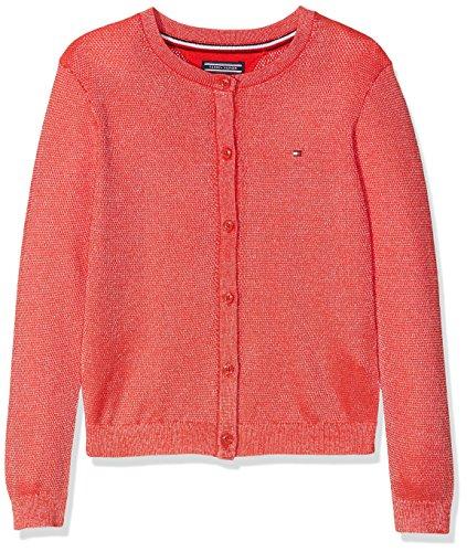 Tommy Hilfiger Mädchen AME Bright Shine Cardigan Sweatjacke, Rot (Flame Scarlet 610), 164 (Herstellergröße: 14)