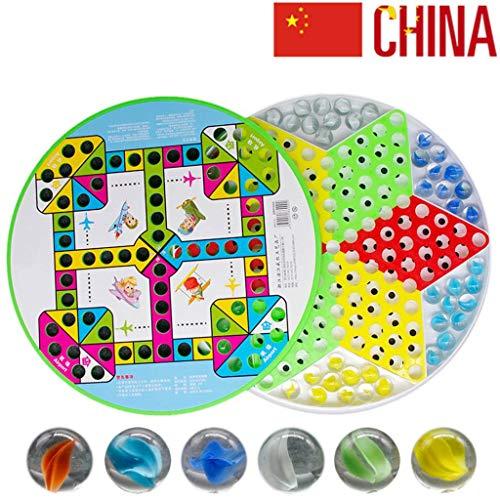 JINLIU Dama Cinese con Vetro Marmi Gioco Volare Scacchi 2 in 1, Include 60 Biglie in 6 Colori per Giochi di Famiglia Vetro