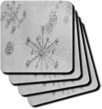 3dRose Silver Glitter Effect Sparkle Snowflakes in Fabric Photograph - Soft Coasters, Set of 8 (CST_213542_2)