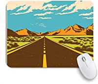 NINEHASA 可愛いマウスパッド 山の自然の道を通る砂漠のルート開放性ヴィンテージハイウェイストーム旅行風景距離カスタマイズされたマウスパッドコンピューター用滑り止めラバーベースラップトップオフィス
