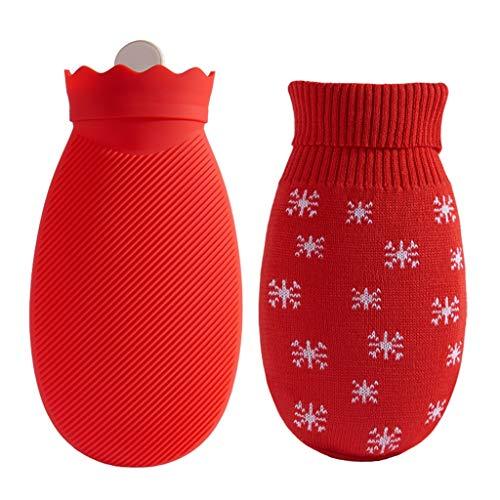 QIAOLI Botella de Agua Caliente Botella Microondas Calefacción Mini Agua Caliente con el Knit Cubierta de Silicona a Prueba de explosiones de Agua Caliente Bolsa de Caliente y fría Terapia Heatbag
