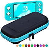 ButterFox Étui de Transport Fin pour Nintendo Switch Lite (modèle Compact), 19 Jeux et 2 emplacements pour Cartes Micro SD, Rangement pour Accessoires Switch Lite Slim Bleu Turquoise/Noir.