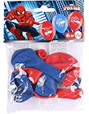amscan 999233 6 latexballonger spindelmannen, röd/blå