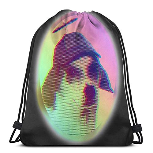 Hdadwy Cool Dog with Propeller Hat Sport Bag Gym Sack Drawstring Backpack for Gym Shopping