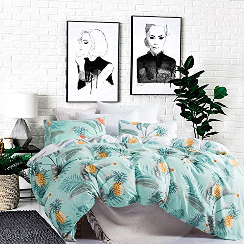 Carisder Pineapple Bedding Printed Duvet Cover Set King Green Pattern Soft Duvet Comforter Cover Set(King, Green Pineapple)