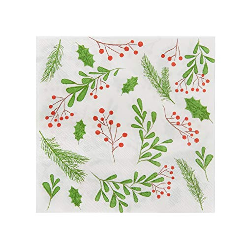 Holly Berry Paper Napkins for Christmas Party (White, 6.5 x 6.5 In, 100 Pack)