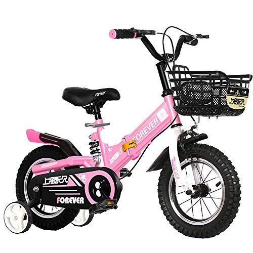 Axdwfd Infantiles Bicicletas Las Bicicletas Plegables De Niños, 12 Pulgadas, 14 Pulgadas, 3 Colores, con Estabilizadores, Guardabarros Y Soportes (Color : Pink, Size : 12in)