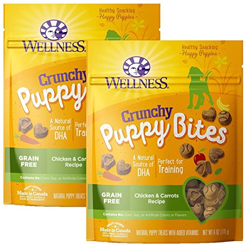 Wellness 2 Pack of Crunchy Chicken and Carrots Puppy Bites, 6 Ounces each