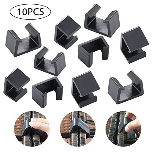 USLION 10 PCS of Outdoor Patio Wicker Furniture Alignment Sofa Rattan Chair Sofa Fasteners Clip Sectional Connector (S, Black) …