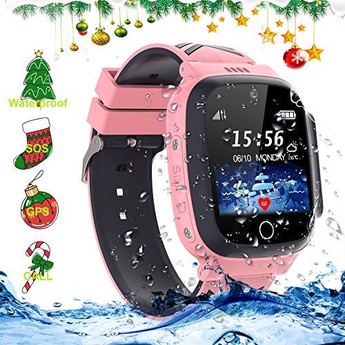 LDB Eu Smartwatch Kinder Wasserdicht, Kids Waterproof Armbanduhr Kinderuhr Telefon Junge Mädchen Uhr für Kinder Handy Smart Watch mit LPS TrackerSOS Voice Chat Thema Weihnachten (Pink)