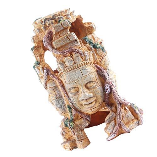 POPETPOP Aquarium Buddha Head Statue Decorations Fish Tank Buddha Sculpture Resin Fish Hideout Betta Cave