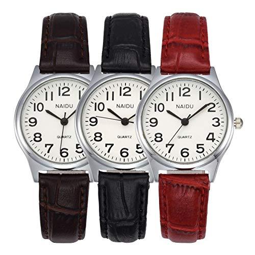 JSDDE Uhren Damen Einfache Stil Armbanduhr Quarzuhr Bambusknoten Lederarmband Uhr Arabische Ziffern Analoge Uhr Quarzuhr Kleideruhr für Frauen Mädchen (3 Stück Set)