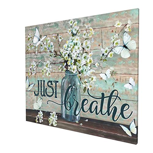 Rustic Wall Art Flower In Vase Just Breathe Canvas Print Butterfly Botanical Painting Farmhouse Country Home Decor For Bathroom Living Room Bedroom Kitchen Office Ready To Hang 20x24 Inch