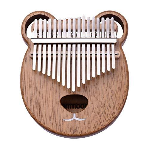 ammoon 17 Key Karinba Portable C Tone Sam Piano Solid Walnut Wood Finger Precussion, Tuning Hammer Wiping Cross Notation Sticker EVA Waterproof Bag (Manga Bear)