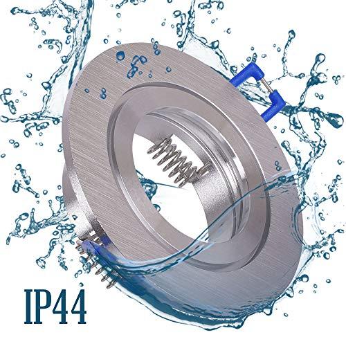 6x Einbaustrahler Bad IP44 mit GU10 Fassung RUND alu gebürstet Einbauspot Einbauleuchte Rahmen Rostfrei Deckenspot Strahler Spot