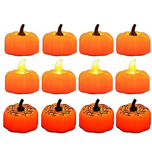 HYKITDAY - Candele a forma di zucca, a batteria, a forma di zucca, senza fiamma, a LED, ideali per decorazioni per la casa di Halloween, confezione da 12