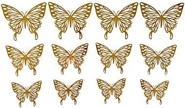 P S Retail 12Pcs 3D PVC Wall Stickers Butterflies, Metallic Golden E