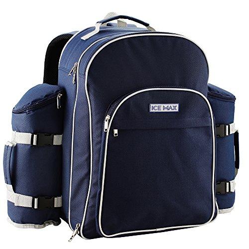 Cabin Max Icemax Premium Picknick Rucksack für 6 Personen mit Picknickdecke - Isolierte, wasserfeste Kühltasche mit Camping Besteck und Geschirr Set - Nützliche Flaschenhalter