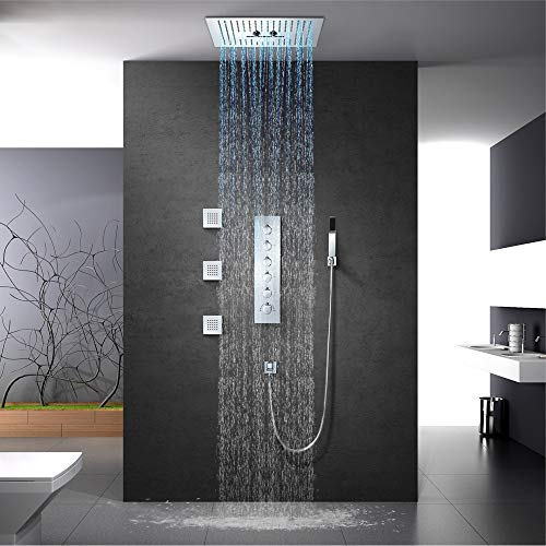 New Nuanxingjiafang Top Spray Shower Copper Shower Set Sky Screen Thermostat with LED Dark Wall Moun...