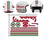 GamesMonkey Adesivi Casco Kit Vespa Rosso Strisce Italia Helmet Vinile Lucido Assortiti in Vinile