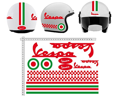 GamesMonkey Sticker Helmet Casco Kit Vespa Rosso Red Italia Helm Viny Polished