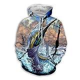 Men Women 3D Tropical Fish Printed Hoodie Long Sleeve Pullover Hooded Sweatshirts Tops Blouse K18 7XL