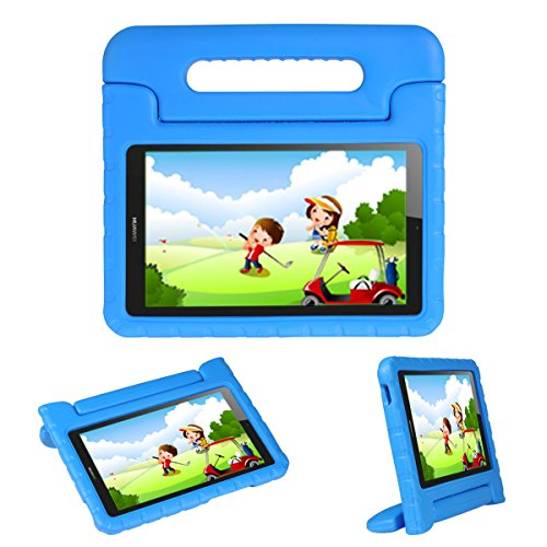 i-original Kids Case Stand for Compatible with Huawei MediaPad T3 8 8-in/Honor Play Pad 2 8-in, Eva Shockproof Protective Carry Handle Lightweight Tablet Holder Cover for Toddlers Children (Blue)