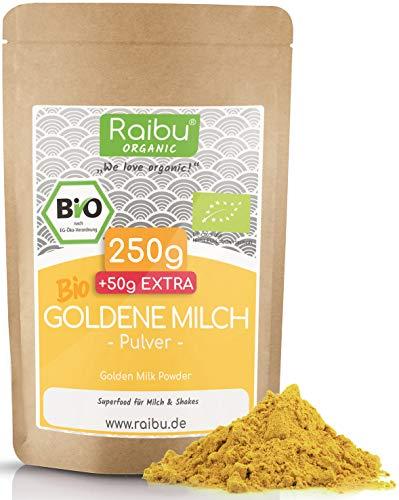 Goldene Milch Pulver BIO 250g + 50g extra I Golden Milk - Kurkuma Latte Mix mit Kurkuma, Kokosblütenzucker, Zimt, Ingwer & Ashwagandha aus kontrolliertem Bio-Anbau