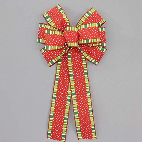 10' x 19' Bow Only boB Whimsical Dot Stripes Wreath Bow - Wreath Bow, Bow, Wreath Bow