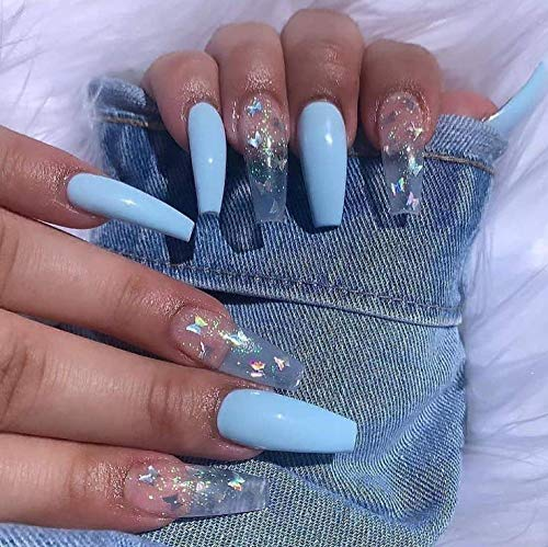 Brishow Coffin False Nails Blue Long Fake Nails Butterfly Ballerina Acrylic Press on Nails Full Cover Stick on Nails 24pcs for Women and Girls