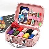 Conjunto de caja de costura de gama alta para el hogar, caja de almacenamiento de herramientas de costura portátil de mano, kit de costura de ropa cosida a mano