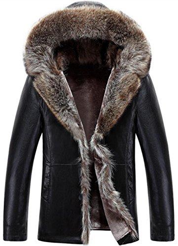 JIINN Herren Klassische Winter Warm Modern Mode Dick Schaffell Lederjacken American Waschbär Mit Kapuze Pelz Mantel Kaschmir Coat Jacket Parka (EU/DE Medium, DE1098 Schwarz)