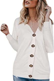 Women's Casual V Neck Cardigan Sweater Button Down Knit Sweater Coat