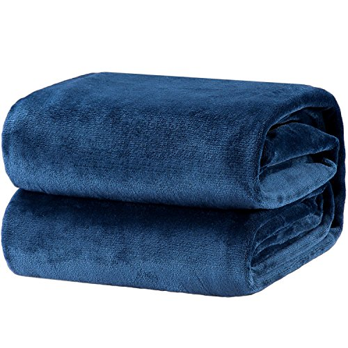 Bedsure Fleece Blanket King Size Navy Lightweight Super Soft Cozy Luxury Bed Blanket Microfiber
