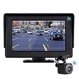 POMILE Telecamera Retromarcia Wireless Digitale Telecamera posteriore per auto wireless Monitor LCD da 4,3 pollici con immagine chiara, telecamera per visione notturna impermeabile IP67 per 12V-24V