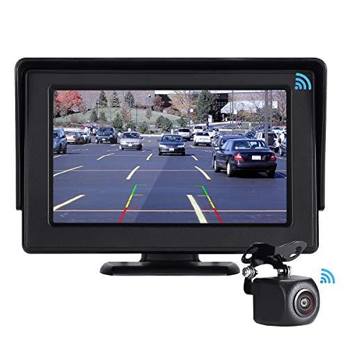 POMILE Kabellos Digital Rückfahrkamera, Auto Rückfahrkamera Drahtlos 4,3 Zoll LCD Monitor, IP67 wasserdichte Nachtsicht-Rückfahrkamera für 12V-24V, Autos, Vans, Wohnmobile, LKWs (schwarz, 4.3 Zoll)