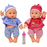 Baby Twin Dolls 9 Inch Girl and Boy First Twin Set, Soft Vinyl Body Baby Dolls for Pretend Play, Milk Bottle Included