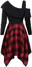 LENXH Ladies Dress, Leaking Shoulder Skirt, Waist Dress, Plaid Dress, Ruffled Dress, Irregular Long Sleeve Skirt