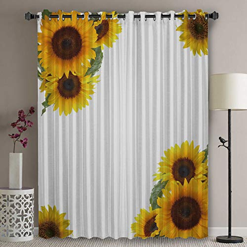 Blackout Patio Door Curtain Panel - 63 Inch Long Grommet Top Thermal Insulated Bedroom Darkening Curtain - Sunflower Draperies & Curtains Simple Fresh Design White Background Curtains for Sliding Door