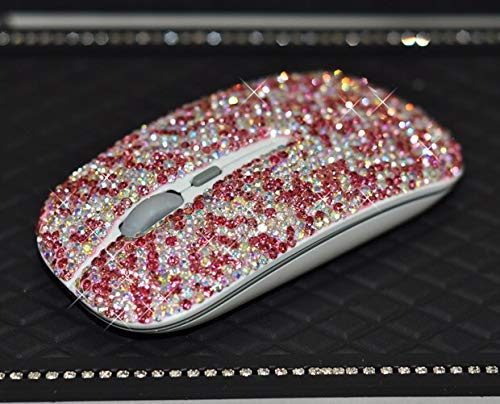 TISHAA Bling Lovely Pink Dazzling Wireless Mouse Covered with Rhinestone Crystal with USB Receiver,Slimline Flat Computer Laptop Mouse,Great Gift idea for Her (Pink Mouse)