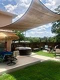 COCONUT Rectangle Sun Shade Sail Canopy, 10' x 14' Patio Shade Cloth Outdoor Cover - Sunshade Fabric Awning Shelter for Pergola Backyard Garden Carport (Brown)